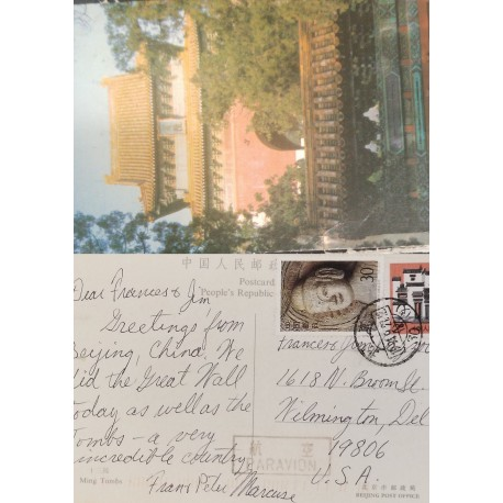 J) 1927 CHINA, TEMPLE, POSTCARD, MULTIPLE STAMPS, AIRMAIL, CIRCULATED COVER, FROM CHINA TO USA