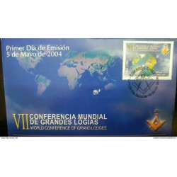 O) 2004 CHILE, MASONIC -FREEMASONRY - VII WORLD CONFERENCE OF GREAT LOGIES, NICE FDC