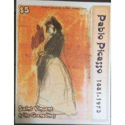 O) 2003 ST VINCENT AND GRENADINES, PABLO PICASSO - SPANISH WOMAN AGAINST AND ORANGE BACKGROUND PAINTING, IMPERFORATE
