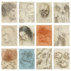 O) 2020 GREAT BRITAIN - UNITED KINGDOM, LEONARDO DA VINCI, MEDICINE - HUMAN SKELETON, SECTIONED SKULL, WOMAN, CATS, OPTICAL