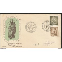 J) 1954 SPAIN, MARIANO UNIVERSAL ZARAGOZA CONGRESS, MULTIPLE STAMPS, AIRMAIL, CIRCULATED COVER, FROM SPAIN TO BARCELONA