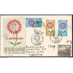 J) 1964 SPAIN, EUROPA CEPT, FLOWERS, V ANNIVERSARY CEPT, VIEW OF GERONA, MULTIPLE STAMPS, AIRMAIL, CIRCULATED