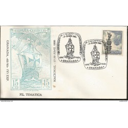 L) 1986 SPAIN, MONUMENT TO COLUMBUS, STATUE, 25CTS, BOAT, SHIP, 15CTS, 494 ANNIVERSARY OF THE CAPITULATIONS OF SANTA FE, FDC