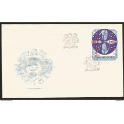 J) 1975 CZECHOSLOVAKIA, ROCKET AND HANDS, MOON WITH ZODIACAL SIGNS, FDC