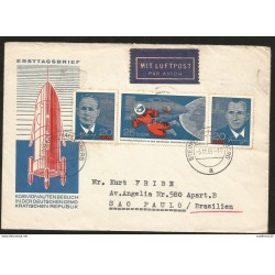J) 1965 GERMANY, COSMONAL VISIT IN THE GERMAN DEMOCRATIC REPUBLIC, SATELLITE, ASTRONAUTS, AIRMAIL, CIRCULATED