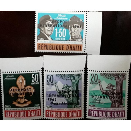 O) 1962 HAITI, BOY SCOUTS GIVING - LORD BADEN AND LADY BADEN POWELL, OVERPRINTE, SET MNH