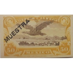 O) 1922 MEXICO, PROOF -  MUESTRA, EAGLE 50c, MNH
