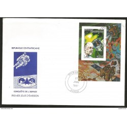 J) 1987 CENTRAL AFRICAN REPUBLIC, SPACE CONQUEST, HALLEY COMTE CORE, SATELLITE AND DR. U KELLER, FDC