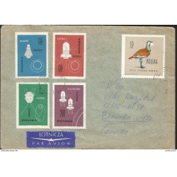 J) 1963 POLAND, AMERICAN AND RUSSIAN SPACECRAFTS, GREAT BUSTARD, HORSE, MULTIPLE STAMPS, AIRMAIL, CIRCULATED COVER
