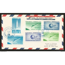 J) 1965 DOMINICAN REPUBLIC, CONQUEST OF SPACE, PLANET, ROCKET, CIRCULATED COVER, FROM SANTO DOMINGO TO NEW YORK