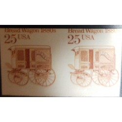 O) 1985 UNITED STATES - USA, IMPERFORATE PAIR, OLD CAR - TRANSPORTATION COILS -BREAD WAGON BY 1880 - SC 2136a, MNH