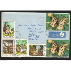 J) 1978 POLAND, BUTTERFLIES, FAMILY MEETING, MULTIPLE STAMS, COMPLETE LETTER, AIRMAIL, CIRCULATED COVER