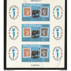 J) 1977 PHILIPPINES, IMPERFORATED, ESPAMER 77 BARCELONA AMERICA AND EUROPE, BULL, STAMP ON STAMP, MNH