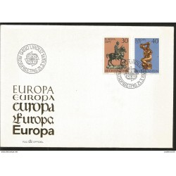 J) 1974 LICHTENSTEIN, EUROPA CEPT, THE VOCIFERANT HORSEMAN, BY ANDREA RICCIO, KNEELING VENUS, BY ANTONIO SUSINI, FDC