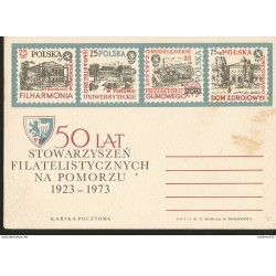 J) 1973 POLAND, 50 YEARS OF FILATELISTIC ASSOCIATIONS IN POMERANIA 1923-1973, HOUSES, UNIVERSITY, POSAL STATIONARY