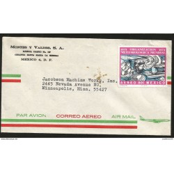 J) 1973 MEXICO, WORLD METEOROLOGICAL ORGANIZATION, AIRMAIL, CIRCULATED COVER, FROM MEXICO TO MINNEAPOLIS