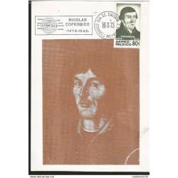 J) 1973 MEXICO, NICOLAS COPERNICO, 1473-1543, GUTEMBERG POSTCARD