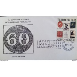 """J) 1973 MEXICO, IV INTER-AMERICAN PHILATELIC EXHIBITION """"EXFILBRA 72"""" PHILATELY FOR PEACE, FDC"""