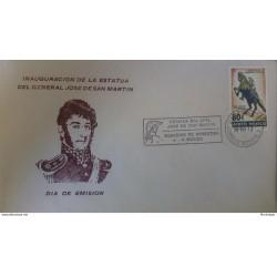 J) 1973 MEXICO, INAUGURATION OF THE STATUE OF JOSE DE SAN MARTIN, HORSE, FDC