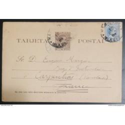 O) 1894, CARIBBEAN, KING ALFONSO XIII 2c p, POSTAL STATIONERY - STATIONARY, TO FRANCE