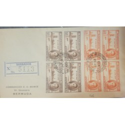 O) 1946 BARBADOS, KING GEORGE VI - END OF THE WORLD WAR - VICTORY, REGISTERED TO BERMUDA