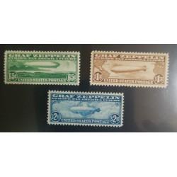 O) 1930 UNITED STATES - USA, GRAF ZEPPELIN ISSUE, ZEPPELIN OVER ATLANTIC OCEAN 65c SC C13, ZEPPELIN BETWEEN CONTINENTS $ 1.30