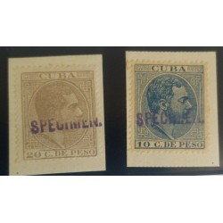 O) 1888, SPECIMEN BRIEFST, KING ALFONSO XII - SC 130 10c,SC 131 20c, UNUSED EXAMPLES ON SMALL PIECE, HANDSTAMPS