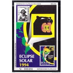 RO) 1994 BOLIVIA, SOLAR ECLIPSE - ASTRONOMY - POLISH ASTRONOMER NICOLAS COPERNICO, SOUVENIR MNH