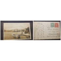 O) 1925 GERMANY, OLD POSTAL CARD VIEW OF THE NEW JUNGFERNSTIEG, GERMAN EAGLE 5pf, GERMAN EAGLE 10pf, TO URUGUAY, XF