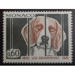 O) 1975 MONACO, CAGED DOG, J.P. DELMAS GRAMMONT, LAW AGAINST CRUELTY TO ANIMALS, MNH