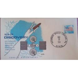 J) 1989 UNITED STATES, FLAG, KENNEDY SPACE CENTER, SATELLITE, FDC