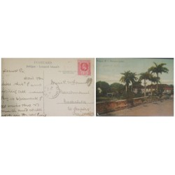 O) 1907 LEEWARD ISLANDS, KING EDWARD VII 1p, ANTIGUA W. BISHOP LODGE, LANDSCAPE, POSTAL CARD, XF