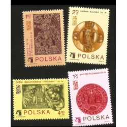 ) 1977 POLAND, ARMS OF POZNAN ON 14TH CENTURY SEAL, EMBLEM AND TOMBSTONE OF NICOLAS TOMICKI, SET OF 4, MN