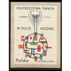 I) 1966 POLAND, JULES RIMET CUP AND FLAGS OF PARTICIPATING COUNTRIES, WORLD CUP SOCCER CHAMPIONSHIP, IMPERFORATED, MN