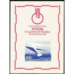 I) 1957 POLAND, WING OF JET PLANE AND LETTER, WARSZAWA 57,IMPERFORATED, SOUVENIR SHEET, MN