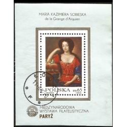 I) 1982 POLAND, PAINT OF MARIA KAZIERA SOBIESKA, PHILEXFRANCE '82 PARIS, SOUVENIR SHEET, BLACK CANCELLATION, MN
