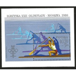 I) 1980 POLAND, KAYAK, 22 TH OLYMPIC GAMES, OLYMPIC RINGS, SUMMER OLYMPIC TYPE, SOUVENIR SHEET, MN