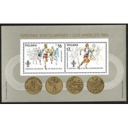 I) 1984 POLAND, OLYMPIC GAMES,MEN AND WOMEN RUNNING, OLYMPIC RINGS, MEDAL 1932, SOUVENIR SHEET OF 2, MN