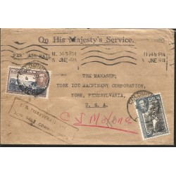 J) 1948 SRI LANKA, PLUCKING TEA, MULTIPLE STAMPS, AIRMAIL, CIRCULATED COVER, FROM SRI LANKA TO USA