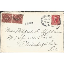 J) 1903 UNITED STATES, FRONT OF LETTER, WASHINGTON, POSTAGE DUE, MULTIPLE STAMPS, AIRMAIL, CIRCULATED COVER