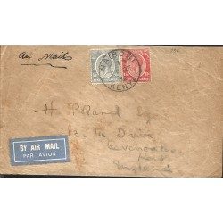 J) 1932 UGANDA, KING, MULTIPLE STAMPS, AIRMAIL, CIRCULATED COVER, FROM UGANDA