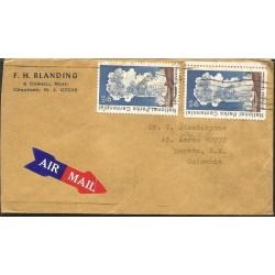J) 1972 UNITED STATES, NATIONAL PARKS CENTENNIAL, MULTIPLE STAMPS, AIRMAIL, CIRCULATED COVER, FROM USA TO COLOMBIA