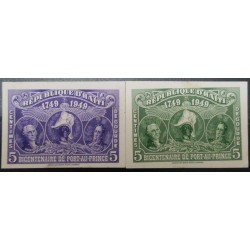 O) 1949 HAITI, DIE PROOF, GEORGE WASHINGTON J.J. DESSALINES AND SIMON BOLIVAR, BICENTENARY OF PORT AU PRINCE SC RA13 violet