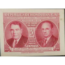 O) 1949 HONDURAS, DIE PROOF, DR JUAN MANUEL GALVEZ AND DON JULIO LOZANO, SC C180 5l, INDEPENDENCE PRESIDENTIAL SUCCESION