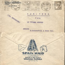 J) 1935 SPAIN REPUBLIC, WITH SLOGAN CANCELLATION, AIRMAIL, CIRCULATED COVER, FROM MURCIA TO NEW YORK