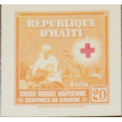 O) 1945 HAITI, PROOF, RED CROSS, NURSE AND WOUNDED SOLDIER ON BATTLEFIED ISSUE, ADDITIONAL AVION 20c, XF