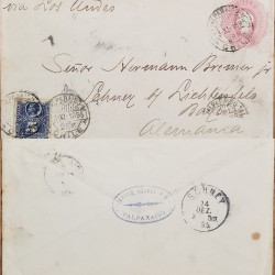 J) 1895 CHILE, COLUMBUS, POSTAL STATIONARY, CIRCUATED COVER, FROM CHILE TO GERMANY VIA LOS ANDES