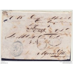 O) 1858 PUERTO RICO, FRONT LETTER FROM LARES, FECHADOR DATE TYPE 1854, PARRILLA COLONIAL, 1/2 real MANUSCRIPT, AND STAMP