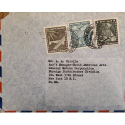 J) 1961 CHILE, AIRPLANE, MULTIPLE STAMPS, AIRMAIL, CIRCULATED COVER, FROM EXPEDICION TO NEW YORK