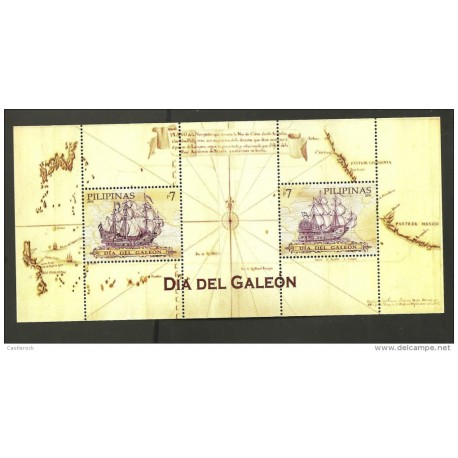 RO) 2010 PHILIPPINES, GALEON DAY, ROUTE MAP. SPANISH SHIP. SOUVENIR MNH